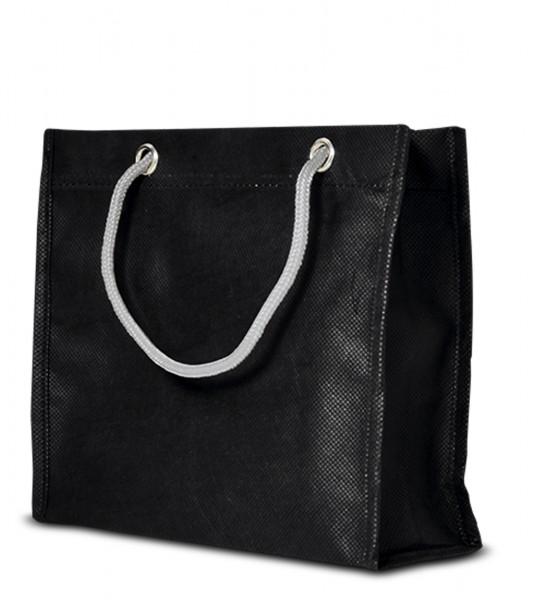 Kleine non-woven Tasche mit Kordelgriffen 70 schwarz
