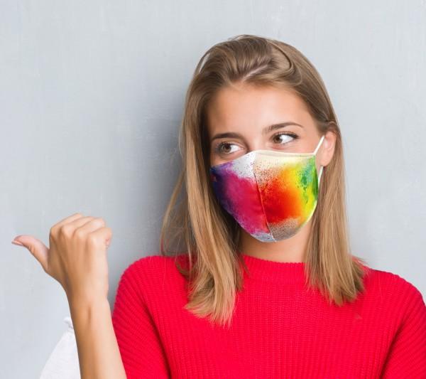 Community  Mund-Nasen-Schutzmaske mit Allover - Druck, Modell B