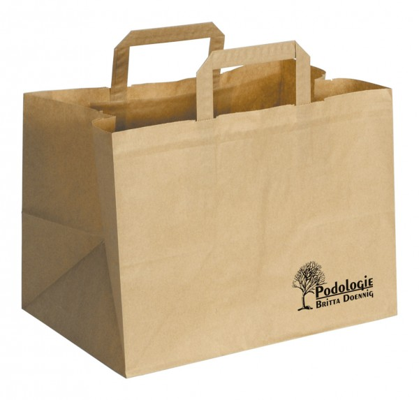 Papiertasche A,mit extra breitem Boden,braun