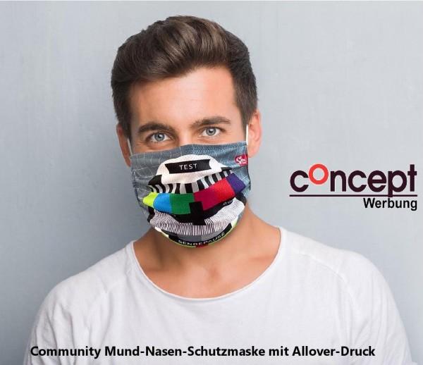Mund-Nasen Maske mit 4-C-Allover Druck!