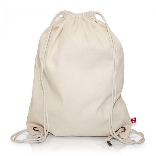 Großer Hipster Bag, Rucksack, Turnbeutel Baumwolle, natur