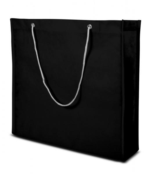 Große non-woven Tasche mit Kordelgriffen 70 schwarz