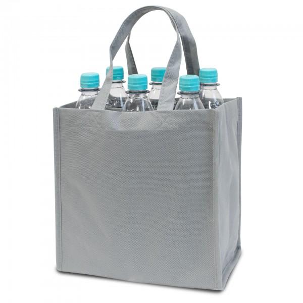 Flaschentasche für 6 Flaschen non woven  hellgrau
