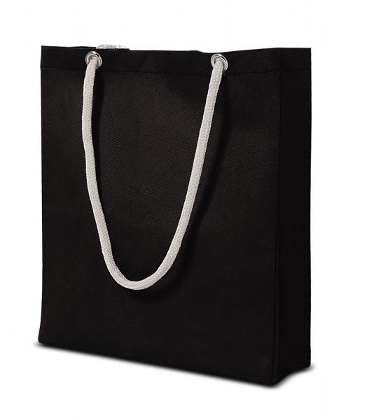 Mittelgroße non-woven Tasche mit Kordelgriffen 70 schwarz