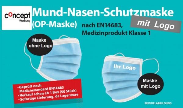 Mund -Nasen- Schutzmaske Modell C, OP Maske  mit Logo