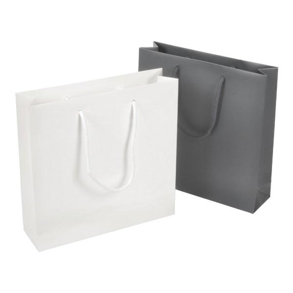 Carat - chice quadratische Papiertasche, in weiss oder grau