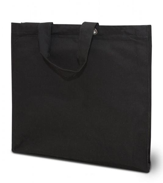 extra schwere Baumwolltasche,kurze Henkel, schwarz